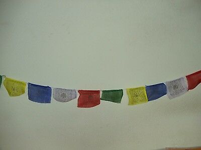 Polyester Printed Tibetan Buddhist Prayer Flags on String from Nepal