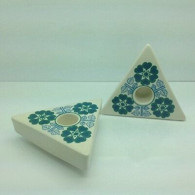 Vintage Retro Jersey Pottery Triangular Candlestick Holders Flowers