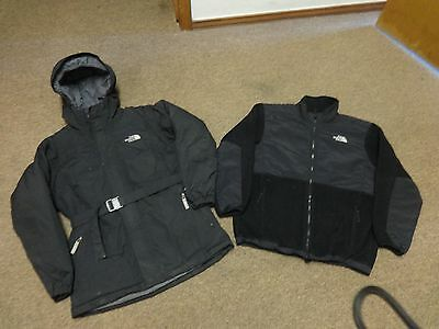Lot 2 The North Face Jacket Denali Hyvent Down Xl Girls Hiking Sport Black