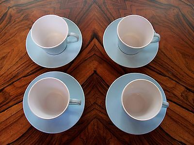 Vintage/Retro Stermat melamine duck egg blue cups and saucers x 4