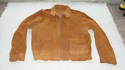 vintage 1930s ? suede harrington jacket coat HARRODS brand tan brown leather 40?
