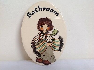 Vintage Retro Jersey Pottery C.l. Hand Painted Wall Tile Plaque Bathroom