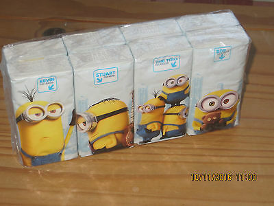 Brand New - Pack of 8 - MINIONS Pocket Tissues