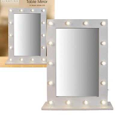 Large LED Lights White Wooden & Glass Hollywood Vanity Dressing Table Mirror