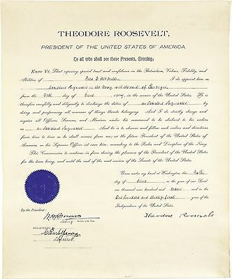 Very Rare & Pristine, President Theodore Roosevelt Signed Naval Commission, 1907