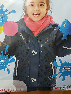 Girls Waterproof and Windproof  Jacket Fleece Lined age 7-8 y  Blue  with tags
