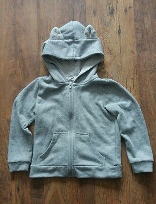 H&M Girls age 4-6 years grey textured marl zip hoodie with animal ears cute