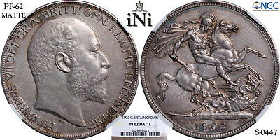 iNi Great Britain, Edward VII, Crown, MATTE PROOF, 1902, Nicely toned, NGC PF 62