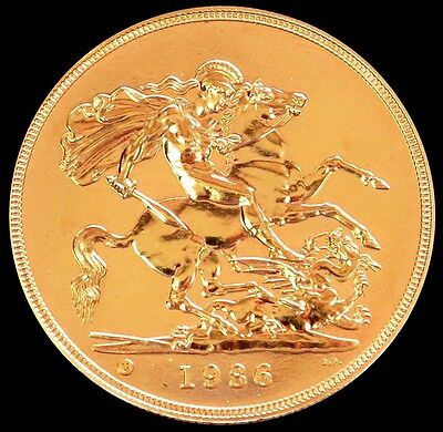 1986 Gold Great Britain 5 Pounds Coin Mint State Condition