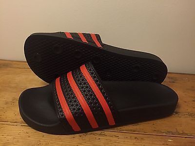 adidas Adilette Black and Red Edition Size 9uk