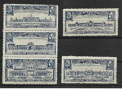 GB 1908 Franco-British Expo Poster Stamps set NHM