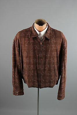 Vtg Mens Brown 50s Flecked Wool Ricky Jacket sz L-XL 1950s Quilted Lining #2131
