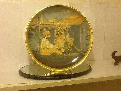 """Unusual Royal Stafford""""monet Painting In Studio Boat""""by Manet Plate No Reserve"""