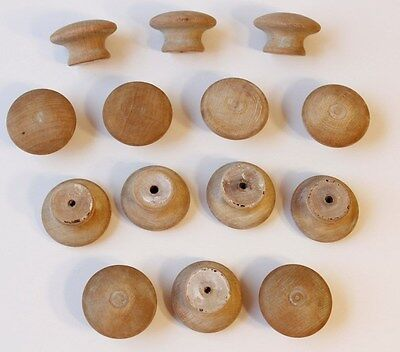 """14 Vintage Unpainted Solid Wood Round Drawer Pulls, 1.5"""" Dia. Light to Med. Tone"""