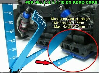 1/10 1/8 RC Car Camber Ride Height Measuring Tool in BLUE