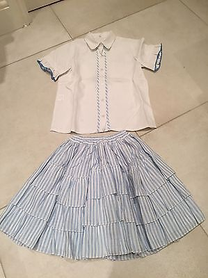 Stunning Spanish Girls Outfit Skirt Blouse White & Blue Frills Ruffles Age 10