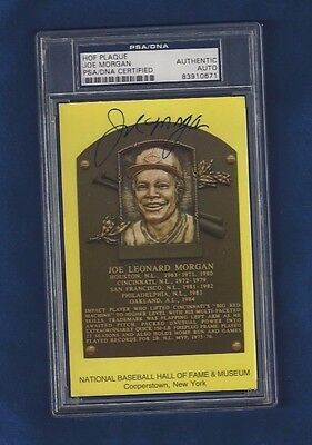 Joe Morgan HOF Plaque Postcard Autographed Cincinnati Reds Baseball PSA SLABBED