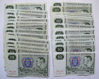 SWEDEN: 33 x 10 KRONOR banknotes since 1975, 80, 81, 83, 84 85, 86, 87, 88, 1990