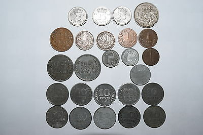 Netherlands: 25 old coins. 1 Gulden silver since 1955. 1, 2 1/2, 10, 25 cent