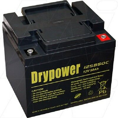 DRYPOWER 12V 50AH AGM Deep Cycle Rechargeable Battery Solar same size as 40AH