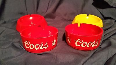 Vintage Coors Advertising Ashtray Red Plastic LOT