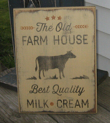 PRIMITIVE  COUNTRY THE OLD FARMHOUSE MILK-CREAM cow