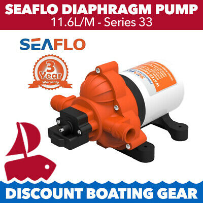 11.6L/M Diaphragm Water Pressure Pump SEAFLO Series 33 Marine Boat Galley RV