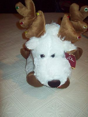 NWT Animated Musical White Reindeer With Lights  SOO CUTE