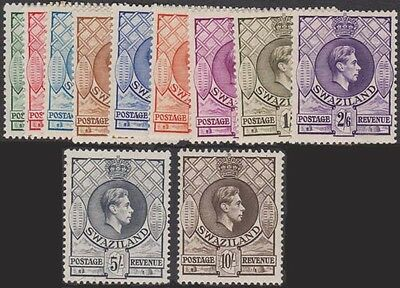SWAZILAND KGVI 1938 Set of 11 Scott 27-37var SG28-38 Lightly Hinged p. 13.5x13