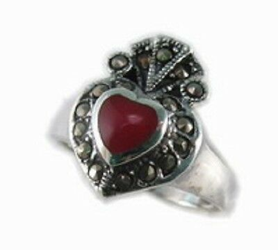 Celtic Sterling Silver Heart Claddagh Inlay Marcasite Ring SZ 7