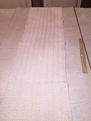 Hand knitted off-white heavy dresser scarf