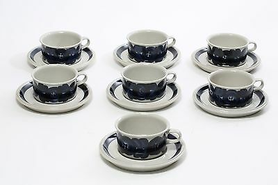 7 Arabia of Finland Stoneware Anemone Blue Tea/Coffee Cups & Saucers Signed