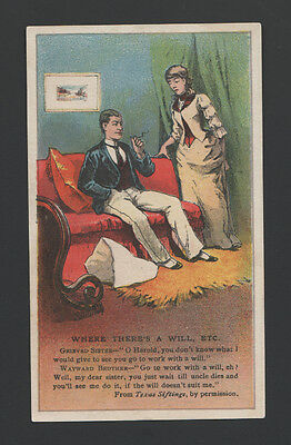 RARE 1880s Arbuckle Coffee Illustrated Jokes Trade Card - #24 - Lazy Brother