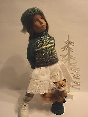 """Sweater/Hat in Gorgeous Mini Mochi yarn for Sasha Dolls, by """"The Spin I'm In."""""""