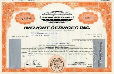 Wholesale Lot of 7 1981 Inflight Services Stock Certificates