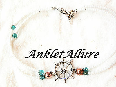 Captains Wheel Anklet Cruise Ankle Bracelet Boat Anklet Nautical Body Jewelry