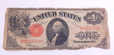 1917 Vintage Large Note $1 Dollar Bill Red Seal Old US Currency