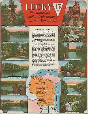 Lucky 13 Motorists Indian Trail Through Wisconsin Adams-Friendship Travel Guide
