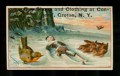 Little Robins Find Broken Doll In The Snow-1880s Victorian Christmas Trade Card