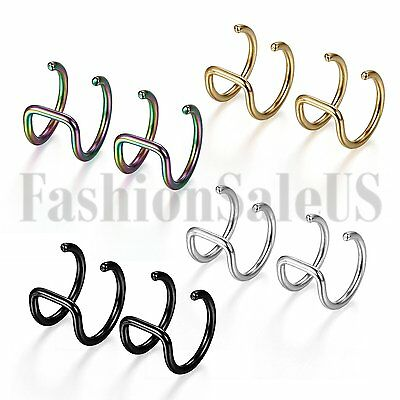 4 Pairs Mens Women Stainless Steel Non-piercing Fake Nose Ring Clip-on Ear Clip