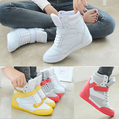 Womens Lace Up Athletic Casual Sneakers Shoes High Top Wedge Sport Ankle Boots