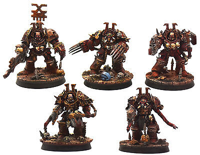 CHAOS SPACE MARINES 5 Terminators Squad FW World Eaters #4 PRO PAINTED 40K