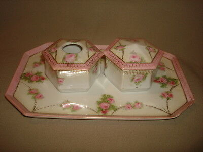 Antique CS Prussia Vanity Tray, Hair Receiver & Powder Box w/PINK ROSES