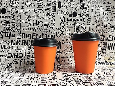 Take Away Single Wall Coffee Orange Cups (8oz / 12oz) Disposable Solo Black Lid