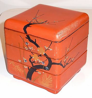 Japanese Lacquer Ware Bento Lunch Box Gold Gilt Wood Antique Red Lacquer