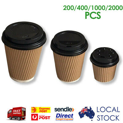 Take Away Triple Wall Coffee Kraft Cups (4oz/8oz/12oz) Disposable Solo Black Lid