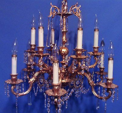 Antique Vintage French 12 Light Branch Versailles Brass Crystal Chandelier