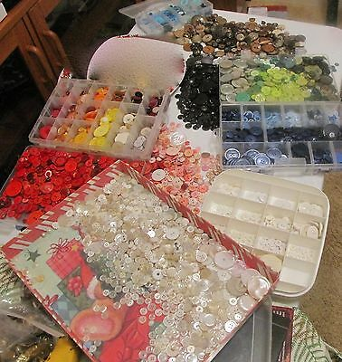 7+ lbs buttons, ALL COLORS, most plastic all ages all sizes CRAFTS*SEE ALL PICS*