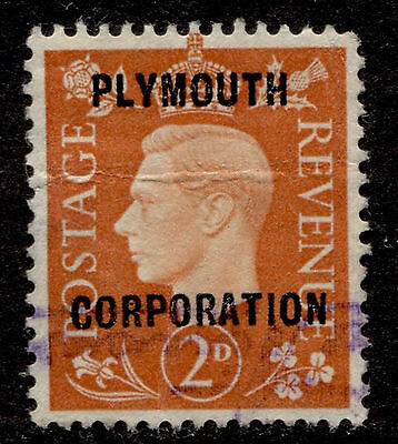 Great Britain 2p KGVI Plymouth Corporation Commercial Overprint Used