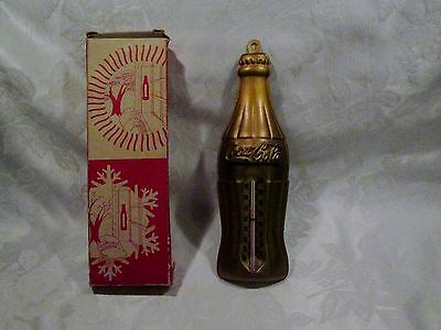 Coca Cola Gold Bottle Tin Thermometer Advertisng Sign With Original Box...fine